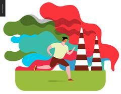 Young man running in smog Stock Illustration