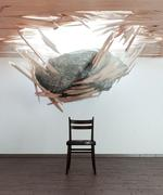 Chair and falling stone conceptual 3d illustration Stock Illustration
