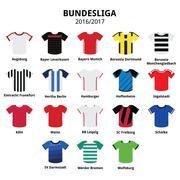 Bundesliga jerseys 2016 - 2017, German football league icons Stock Illustration