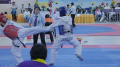 Match of male taekwondo players,Ubon Ratchathani,Thailand Stock Footage