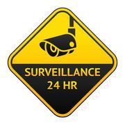 CCTV pictogram, video surveillance sticker Stock Illustration