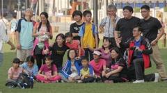 Toursist making group photo on Merdeka square,Kuala Lumpur,Malaysia Stock Footage