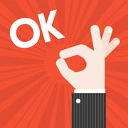 Okay Hand sign vector with sun burst background and text OK Stock Illustration