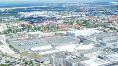 Panorama Munich with  BMW Exhibition Centre Stock Footage