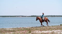 Equestrienne Galloping on Horse along Lakeshore Stock Footage