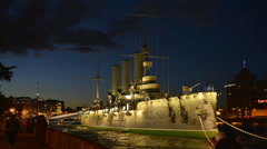 Aurora cruiser in St. Petersburg time-lapse photography Stock Footage