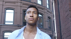 Walking Black Handsome Man, Outdoor Stock Footage