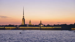 Saint-Petersburg view of the Peter and Paul Fortress, time-lapse photography Stock Footage