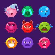 Spherical Characters Of Different Colors Emoji Set Stock Illustration