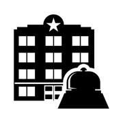 Bell hotel building silhouette design Stock Illustration