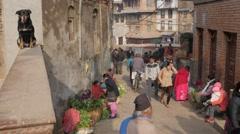 Vegetable sellers in small street,Kathmandu,Nepal Stock Footage