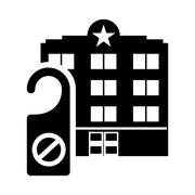 Door label hotel building silhouette design Stock Illustration