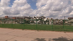Massive auto parts plant and factory torn down to rubble Stock Footage
