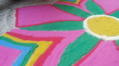 Colorful powder which is used to decoration and making rangoli, celebration Stock Footage