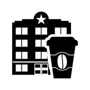 coffee mug hotel building silhouette design - stock illustration