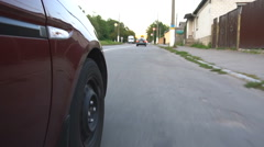 The car goes on the streets of provincial town Stock Footage