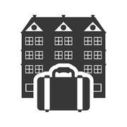 Suitcase hotel building silhouette design Stock Illustration
