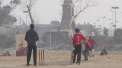 Cricket playes on Tundikhel grounds,Kathmandu,Nepal Stock Footage