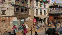 Woman selling vegetables in rumbe,Kathmandu,Nepal Stock Footage