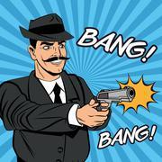 Detective or policeman cartoon design Piirros
