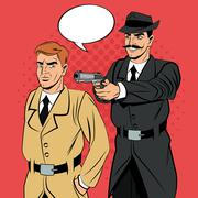 Detective and thief man cartoon design Piirros