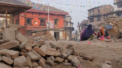 Woman and priest in ruined temple,Kathmandu,Nepal Stock Footage