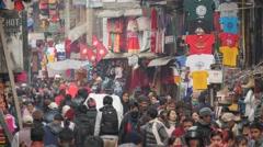 Crowds in shopping street,Kathmandu,Nepal Stock Footage