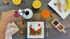 Breakfast stop motion pouring coffee top view Stock Footage
