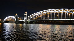 Saint-Petersburg view of the Neva river and Bolsheokhtinsky bridge at night Stock Footage