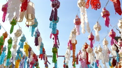 Colorful paper lantern decoration for Yeepeng festival Stock Footage
