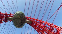 Zhivopisny cable-stayed bridge that spans Moscow River Stock Footage