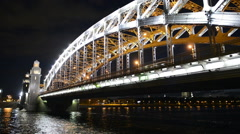 Saint-Petersburg view of the Neva river and Bolsheokhtinsky bridge at night Stock Footage