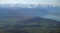 Swiss countryside and part of the Geneva (Leman) lake with the Alps Stock Footage