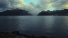 Scenic Norway Fjord Landscape with Little of Typical Afternoon Rain. Norway Stock Footage