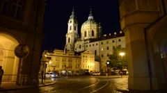 Prague Old Town Intersection at Night Stock Footage