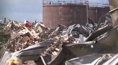Automotive manufacturing plant torn down in economic recession Stock Footage