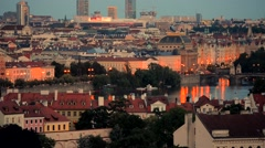 City of Prague Panorama. Summer Evening in Prague Stock Footage