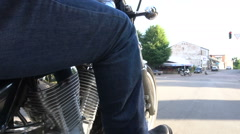 Man riding motorcycle on the street Stock Footage
