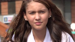Pretty And Serious Teen Girl Stock Footage