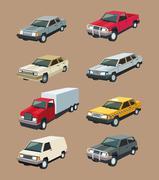 Auto truck garage car set design Stock Illustration