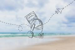 Bucket list of travel destination, with beach toys and airplane flying Stock Illustration