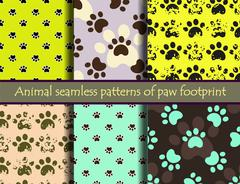 Vector seamless patters with cat or dog footprints. Stock Illustration