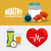 Protein heart healthy lifestyle design Stock Illustration