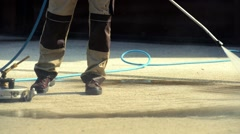 Brick Driveway Cleaning by Professional Cleaner Stock Footage