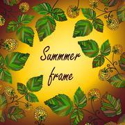 Vector yellow raspberry frame Stock Illustration