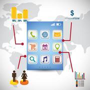Wallpaper infographic mobile apps design Stock Illustration