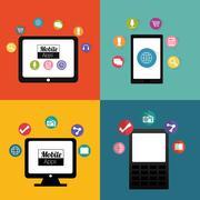 Gadgets mobile apps design Stock Illustration