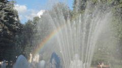 Rainbow in a fountain Stock Footage