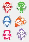 Colored stickers angel-set icons, collection signs Stock Illustration