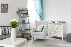 Comfortable retro armchair Stock Photos